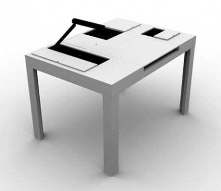 Table et bureau all in one blanche
