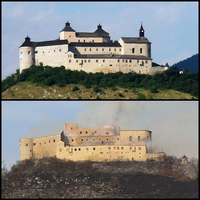 Hrad Krásna Hôrka pred a po požiari 10.03.2012, zdroj: net