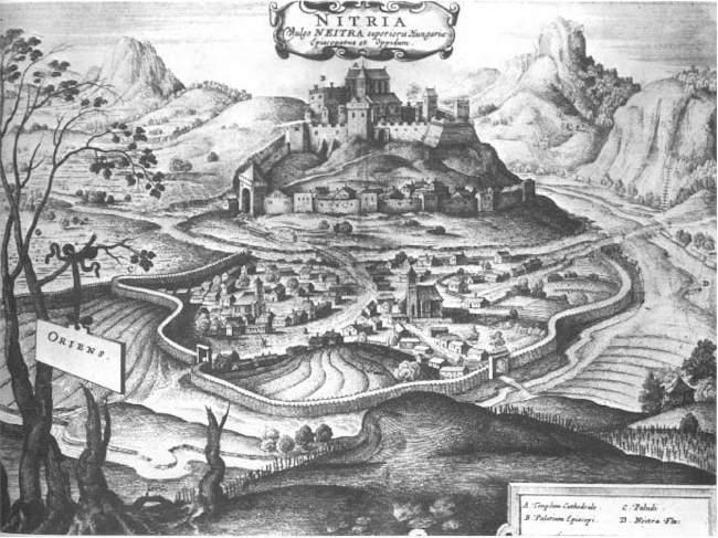 Nitriansky hrad, lept českého grafika, kresliara a ilustrátora Václava Hollara