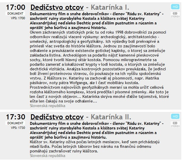 Program dokumentu o Katarínke