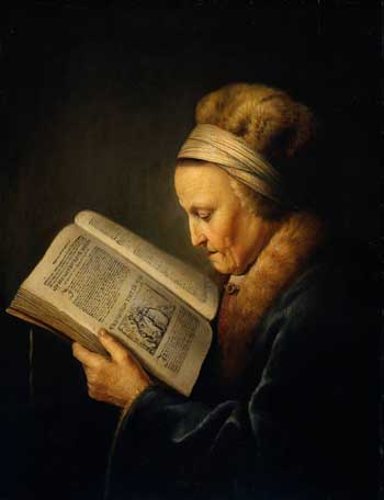 Gerard Dou (1613-75), Old woman reading, 1640 Amsterdam, Rijksmuseum