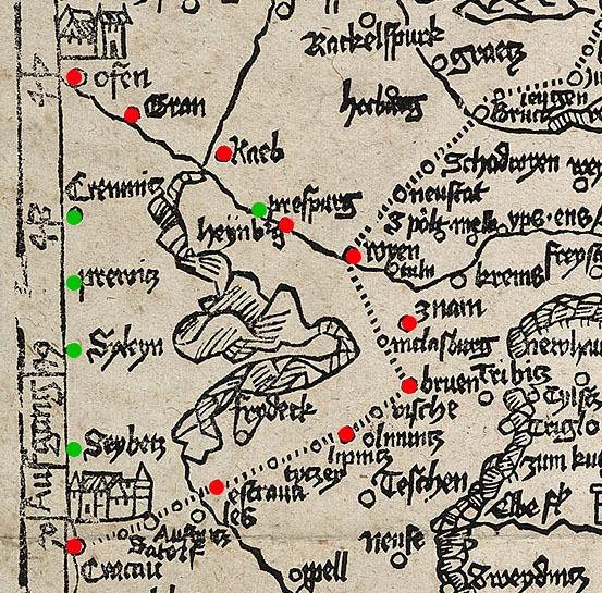 Obr. Detail čierno-bielej mapy Romweg od Erharda Etzlauba z roku 1500