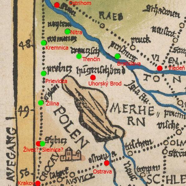 Obr. Zakreslené slovenské mestá na mape z roku 1501