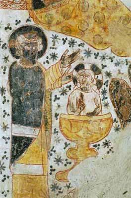 Detail fresky z kostola Všetkých svätých v Dechticiach, zdroj: net