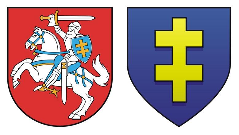Obr. Štátny znak Litvy a erb Jagelovcov