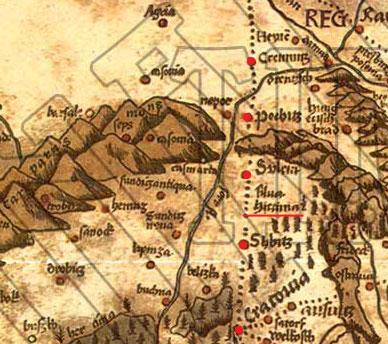 Obr. Detail mapy Martina Waldseemüllera - Hercýnsky les