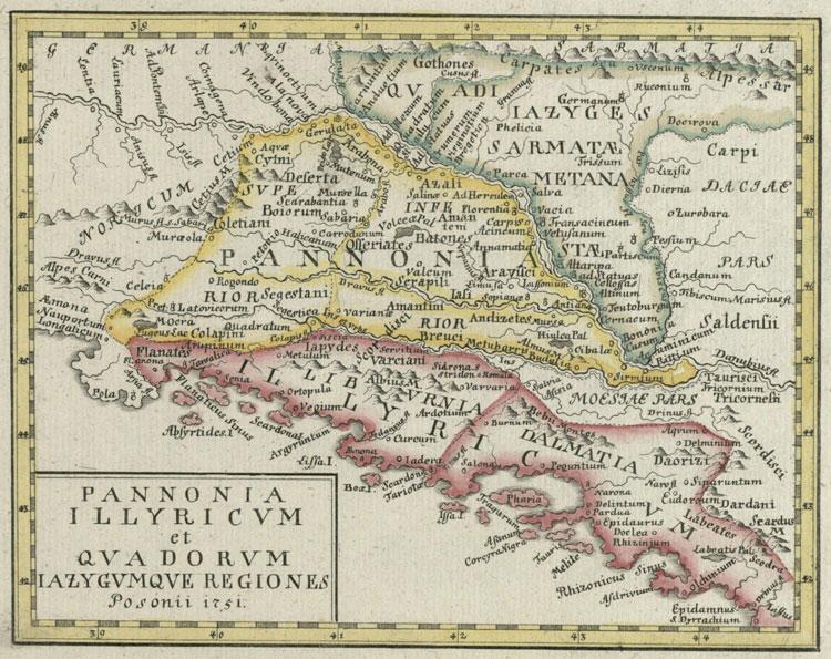 Obr. Dŕžava Kvádov podľa neznámeho kartografia na mape z roku 1751 vydanej v Bratislave